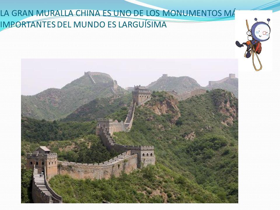 LA GRAN MURALLA CHINA ES UNO DE LOS MONUMENTOS MÁS IMPORTANTES DEL MUNDO ES LARGUÍSIMA