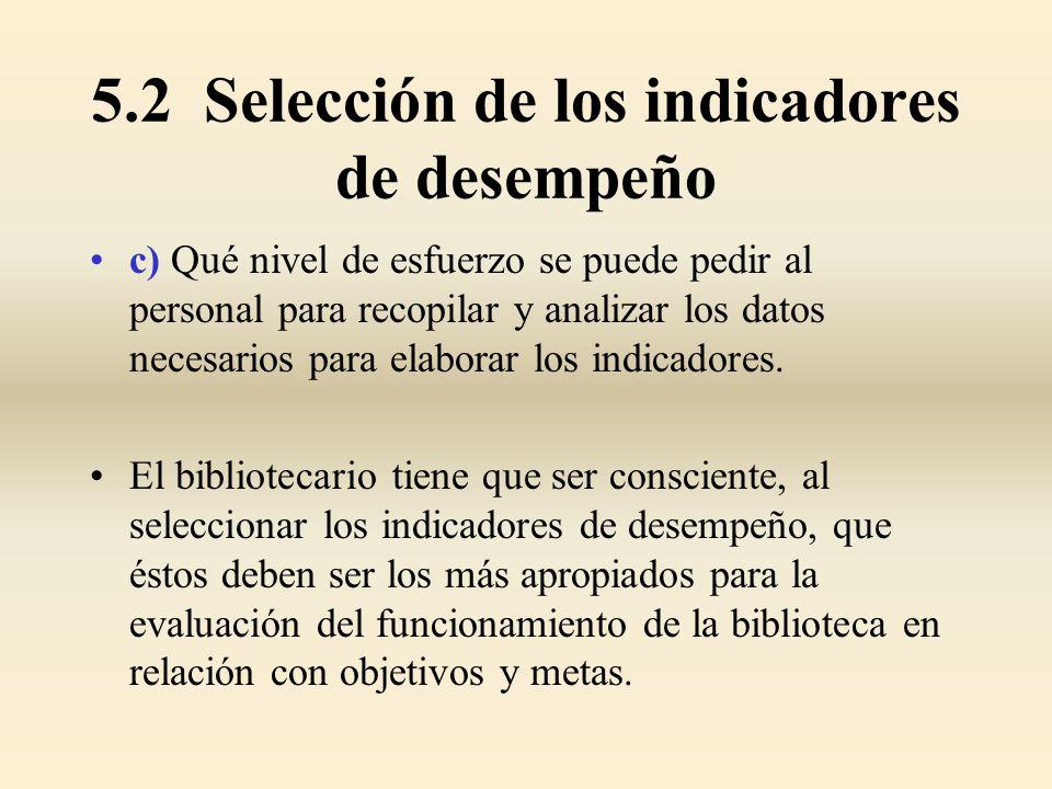 5.2 Selección de los indicadores de desempeño