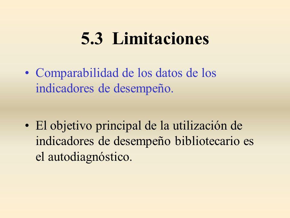 5.3 Limitaciones Comparabilidad de los datos de los indicadores de desempeño.