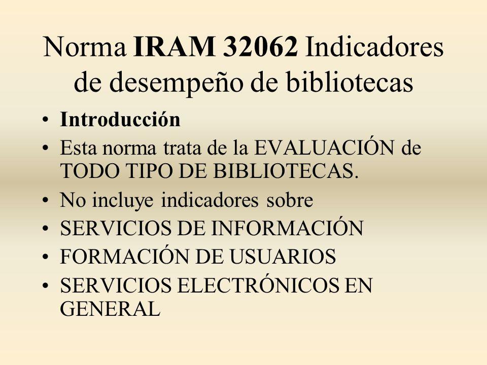 Norma IRAM 32062 Indicadores de desempeño de bibliotecas
