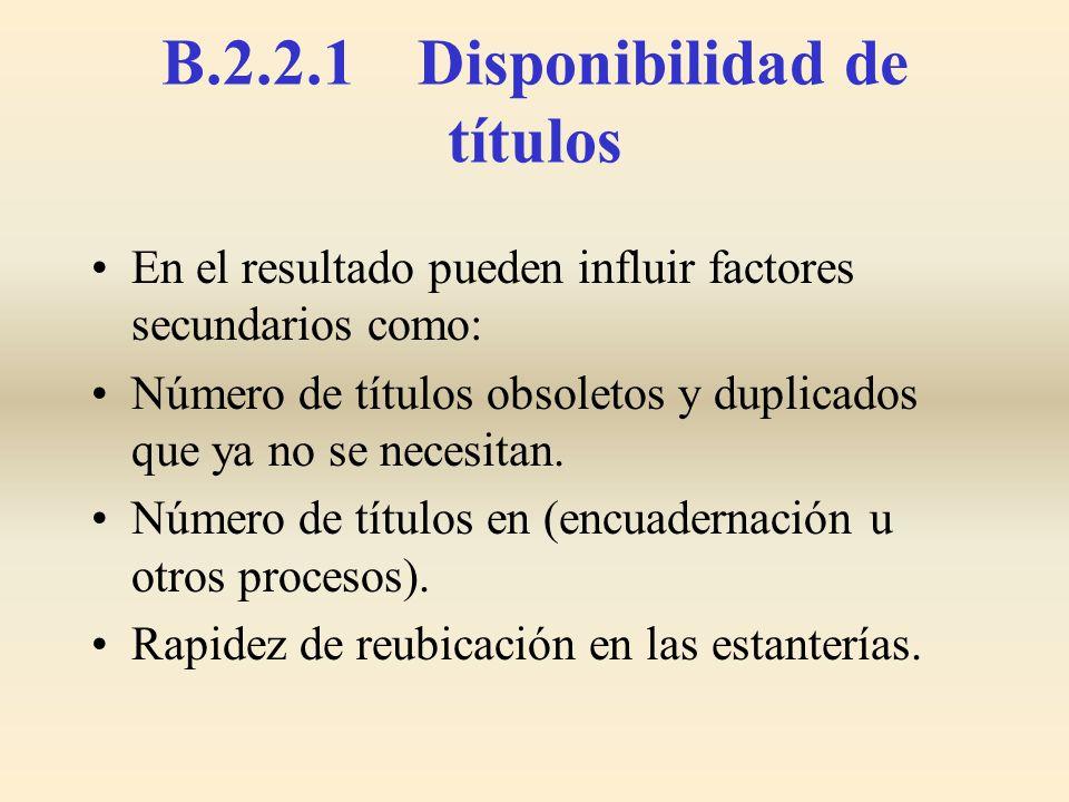 B.2.2.1 Disponibilidad de títulos
