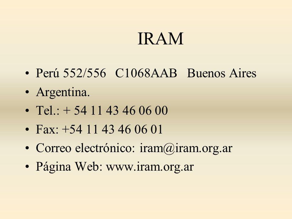 IRAM Perú 552/556 C1068AAB Buenos Aires Argentina.