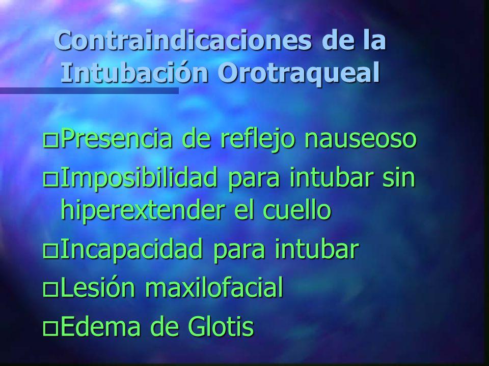Contraindicaciones de la Intubación Orotraqueal