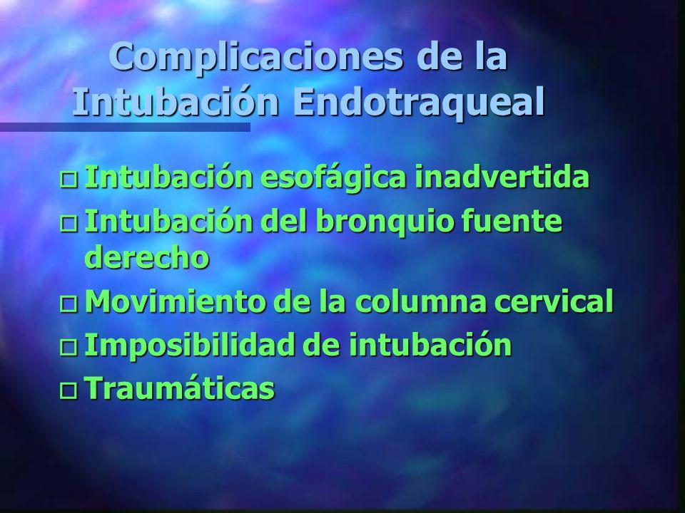 Complicaciones de la Intubación Endotraqueal