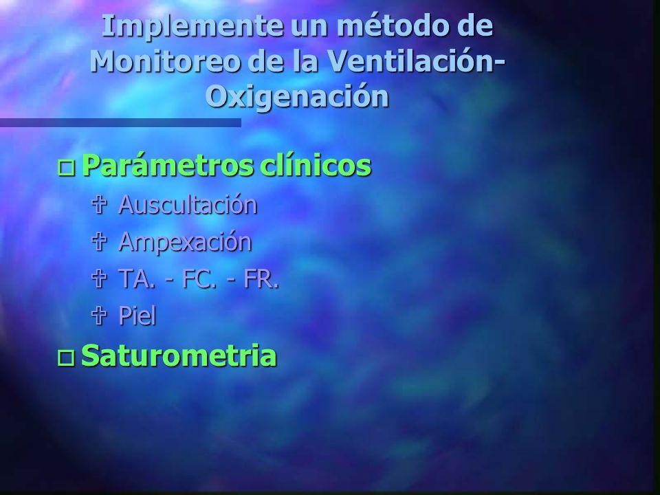 Implemente un método de Monitoreo de la Ventilación-Oxigenación