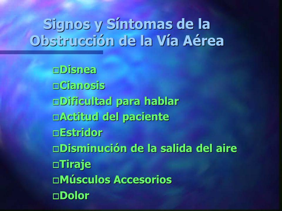 Signos y Síntomas de la Obstrucción de la Vía Aérea