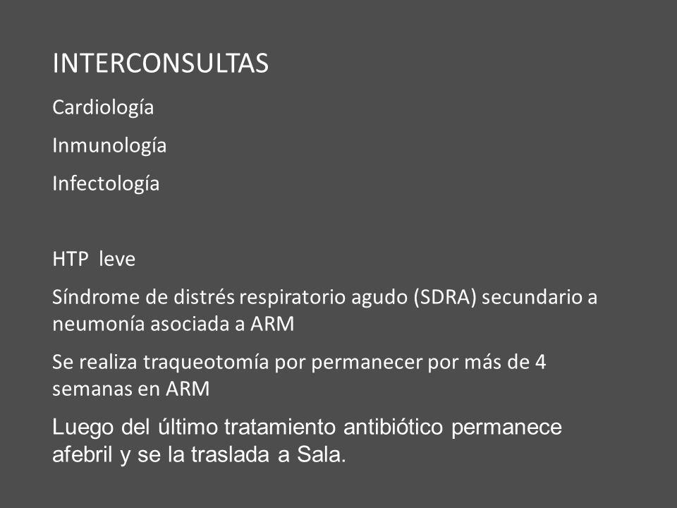 INTERCONSULTAS Cardiología Inmunología Infectología HTP leve