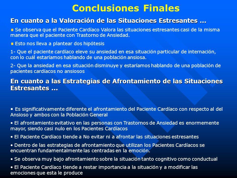 Conclusiones Finales En cuanto a la Valoración de las Situaciones Estresantes ...
