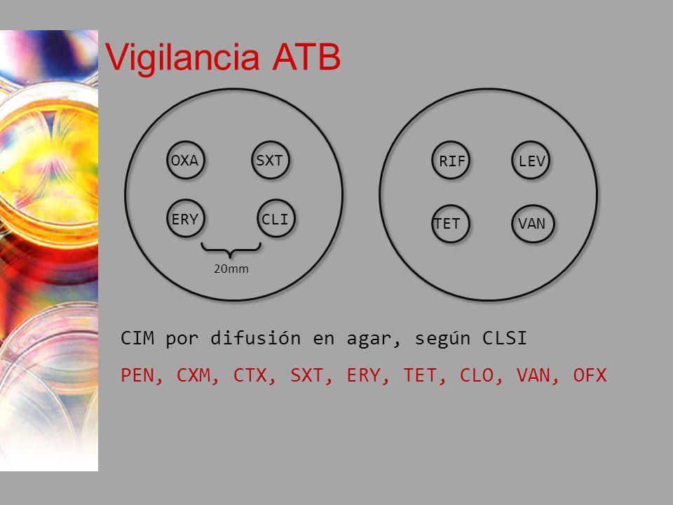 Vigilancia ATB CIM por difusión en agar, según CLSI