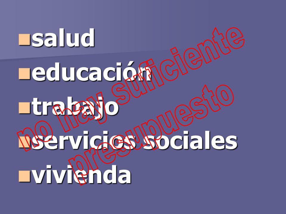 salud educación trabajo servicios sociales vivienda no hay suficiente presupuesto