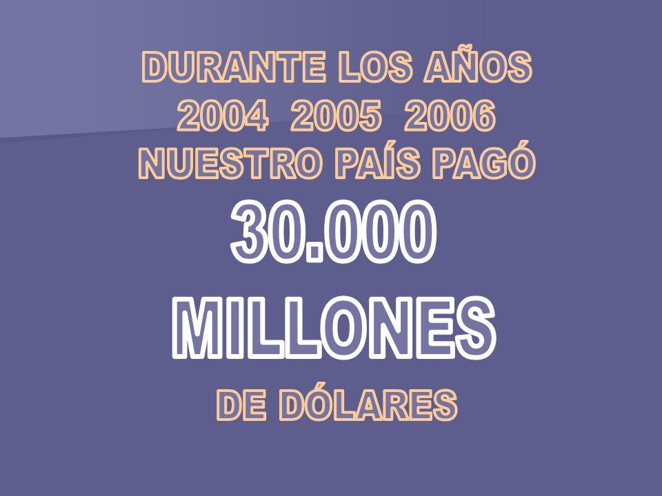 30.000 MILLONES DURANTE LOS AÑOS 2004 2005 2006 NUESTRO PAÍS PAGÓ