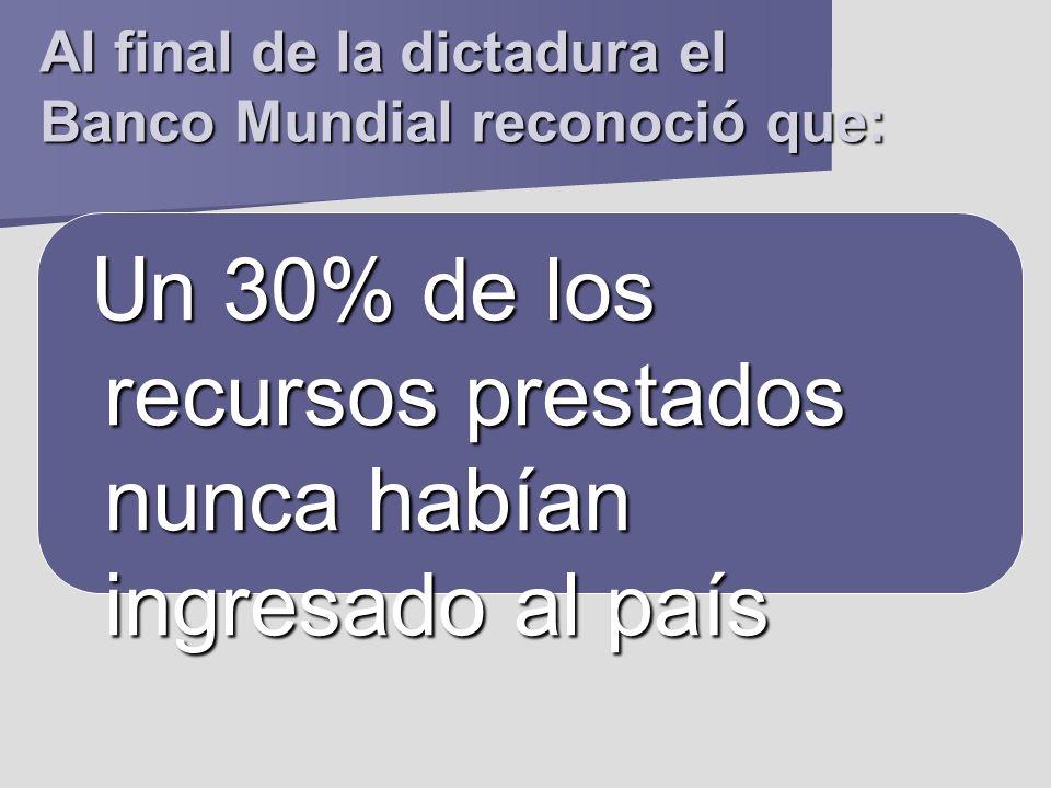 Al final de la dictadura el Banco Mundial reconoció que: