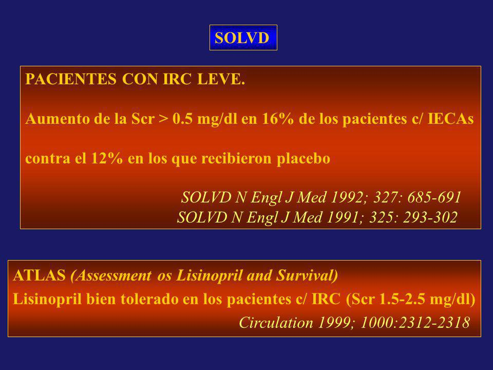 SOLVD PACIENTES CON IRC LEVE. Aumento de la Scr > 0.5 mg/dl en 16% de los pacientes c/ IECAs. contra el 12% en los que recibieron placebo.