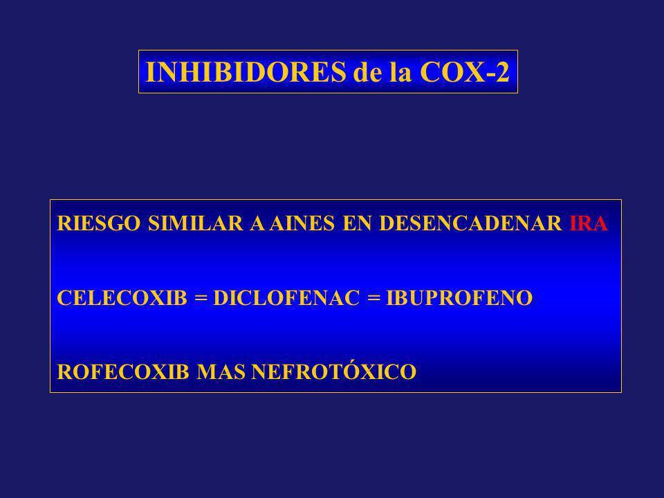INHIBIDORES de la COX-2 RIESGO SIMILAR A AINES EN DESENCADENAR IRA