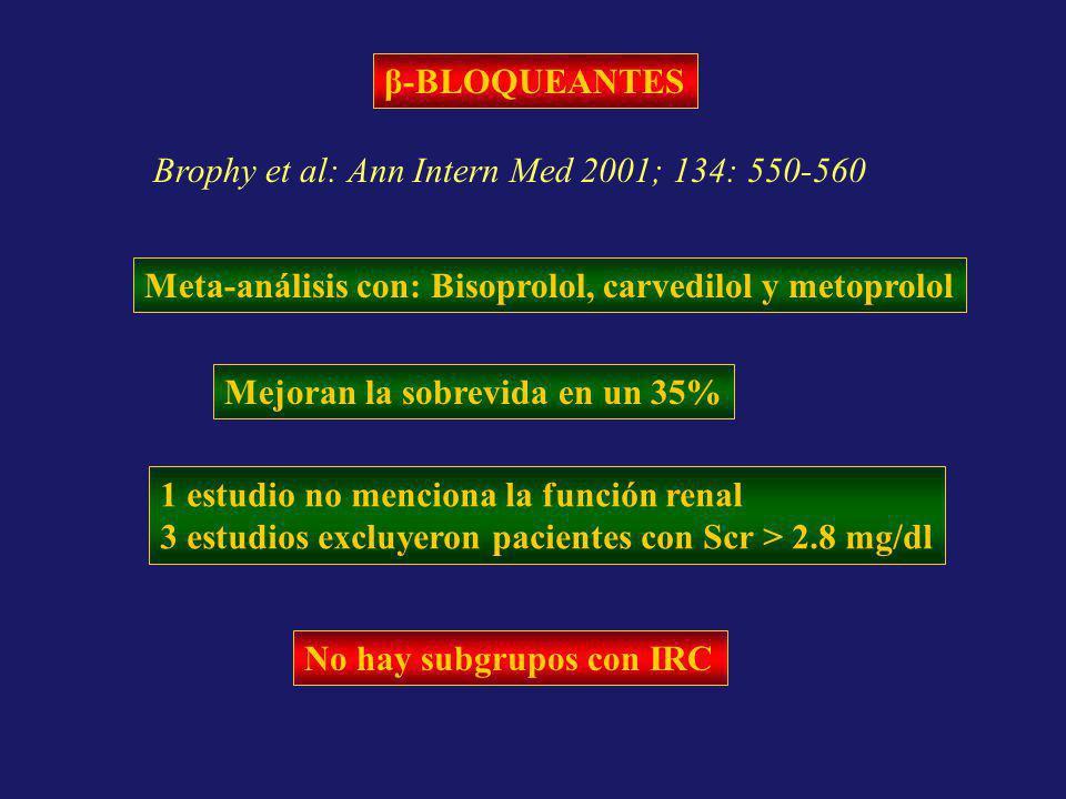 β-BLOQUEANTES Brophy et al: Ann Intern Med 2001; 134: 550-560. Meta-análisis con: Bisoprolol, carvedilol y metoprolol.
