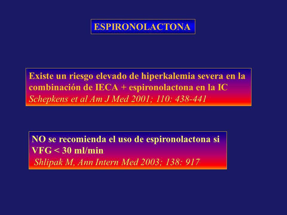 ESPIRONOLACTONA Existe un riesgo elevado de hiperkalemia severa en la. combinación de IECA + espironolactona en la IC.