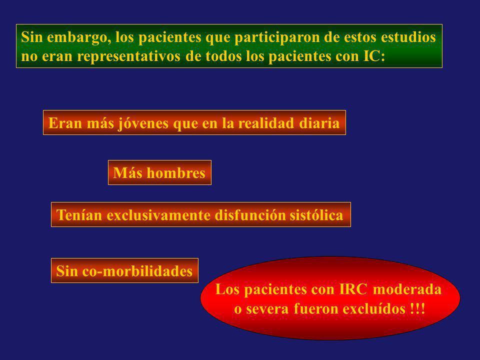 Los pacientes con IRC moderada o severa fueron excluídos !!!