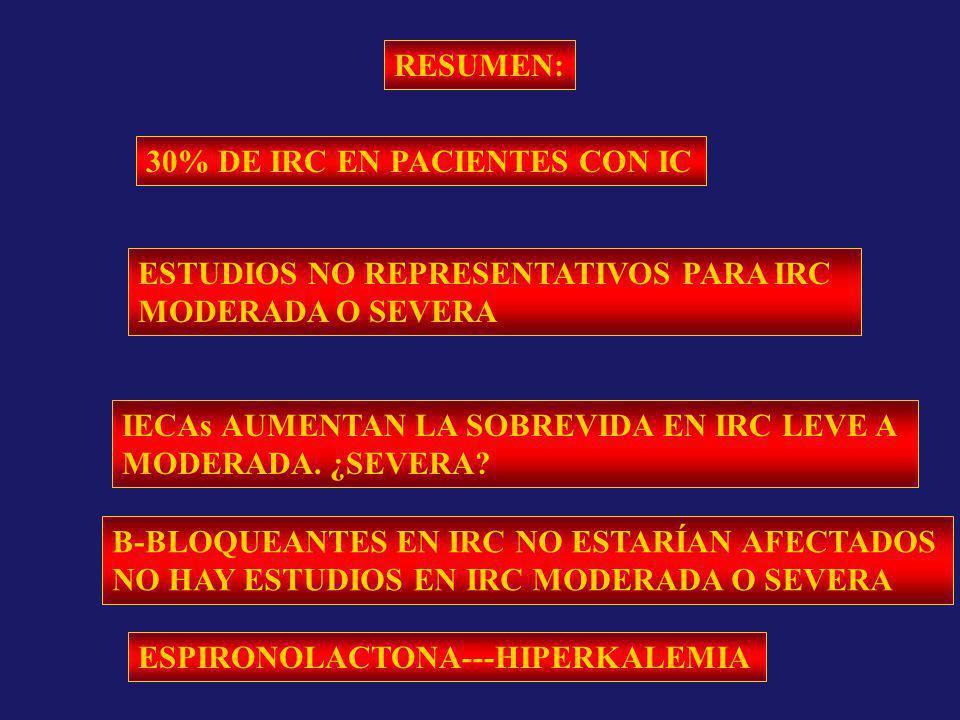 RESUMEN: 30% DE IRC EN PACIENTES CON IC. ESTUDIOS NO REPRESENTATIVOS PARA IRC. MODERADA O SEVERA.