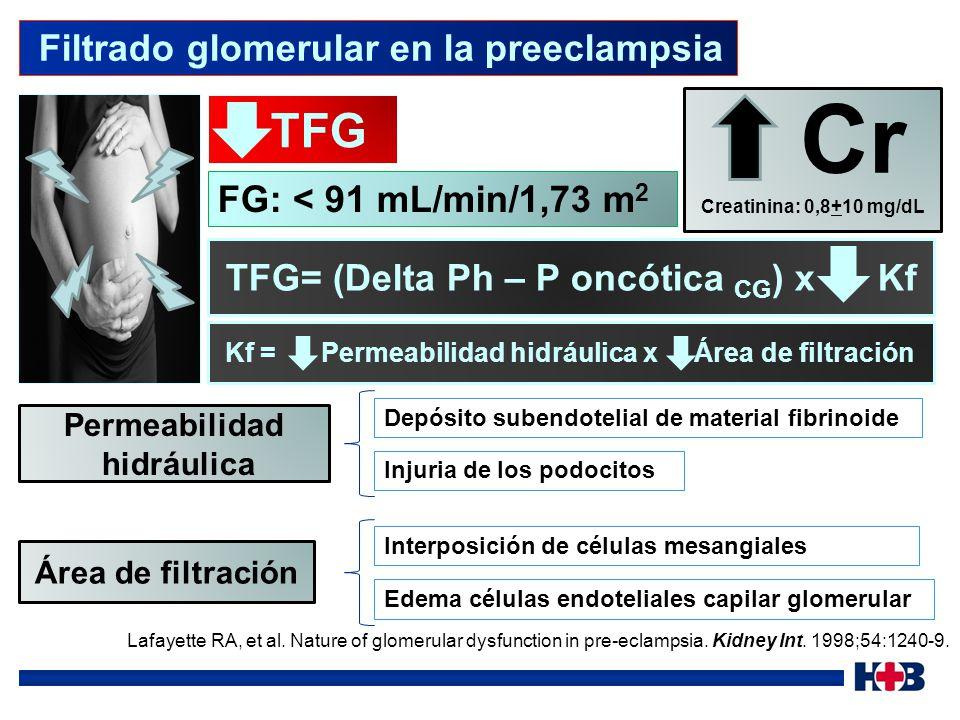 Cr TFG Filtrado glomerular en la preeclampsia