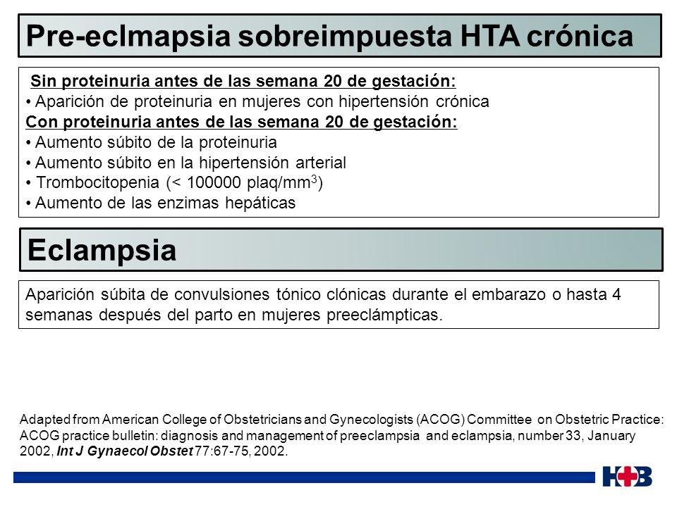 Pre-eclmapsia sobreimpuesta HTA crónica