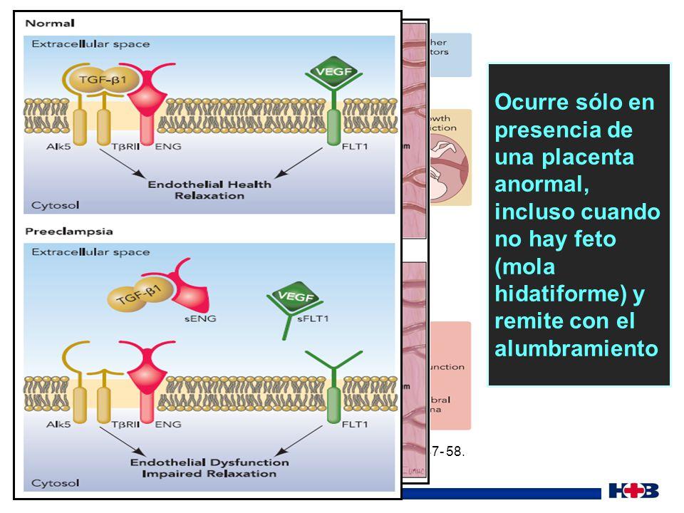 Ocurre sólo en presencia de una placenta anormal, incluso cuando no hay feto (mola hidatiforme) y remite con el alumbramiento
