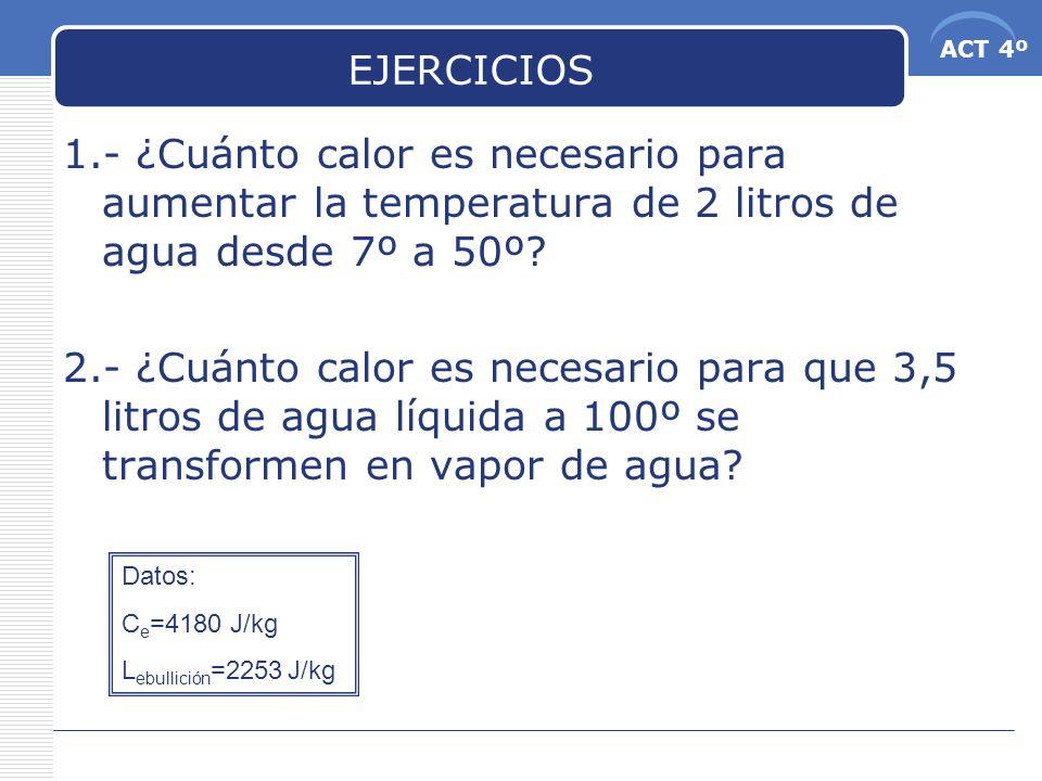 EJERCICIOS 1.- ¿Cuánto calor es necesario para aumentar la temperatura de 2 litros de agua desde 7º a 50º