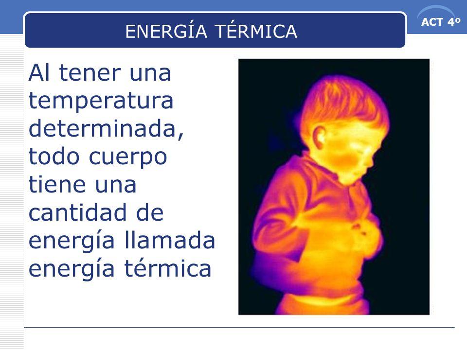 ENERGÍA TÉRMICA Al tener una temperatura determinada, todo cuerpo tiene una cantidad de energía llamada energía térmica.
