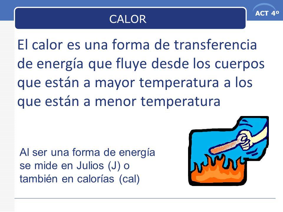 CALOR El calor es una forma de transferencia de energía que fluye desde los cuerpos que están a mayor temperatura a los que están a menor temperatura.