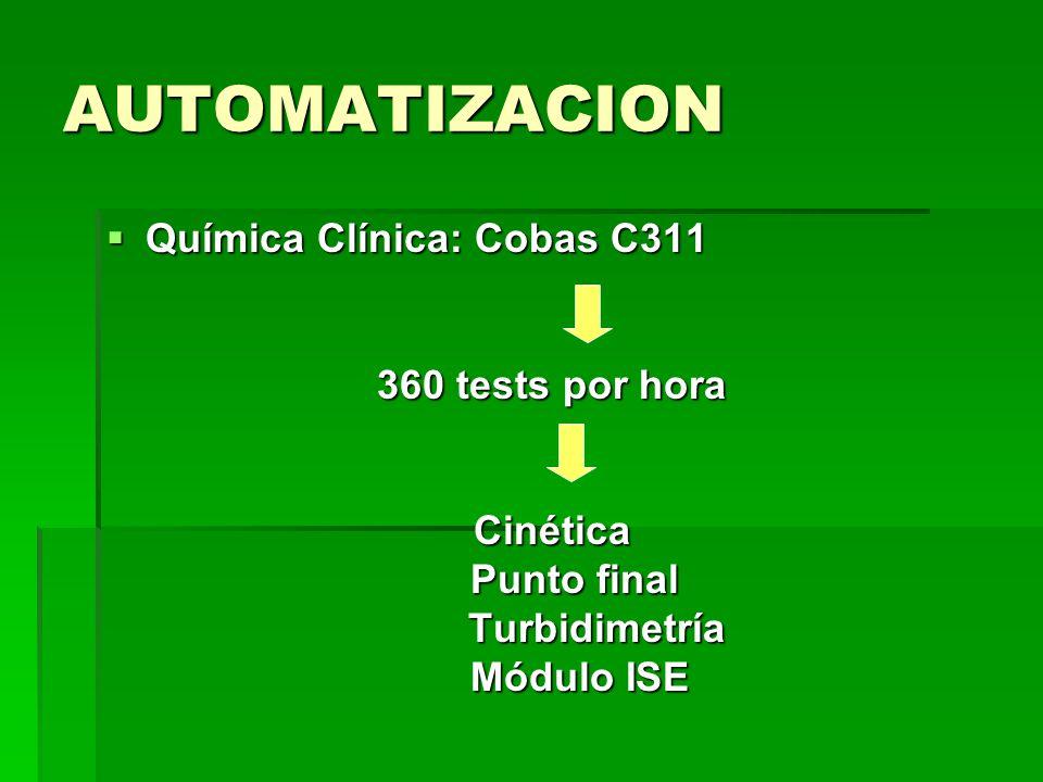 AUTOMATIZACION Química Clínica: Cobas C311 360 tests por hora Cinética