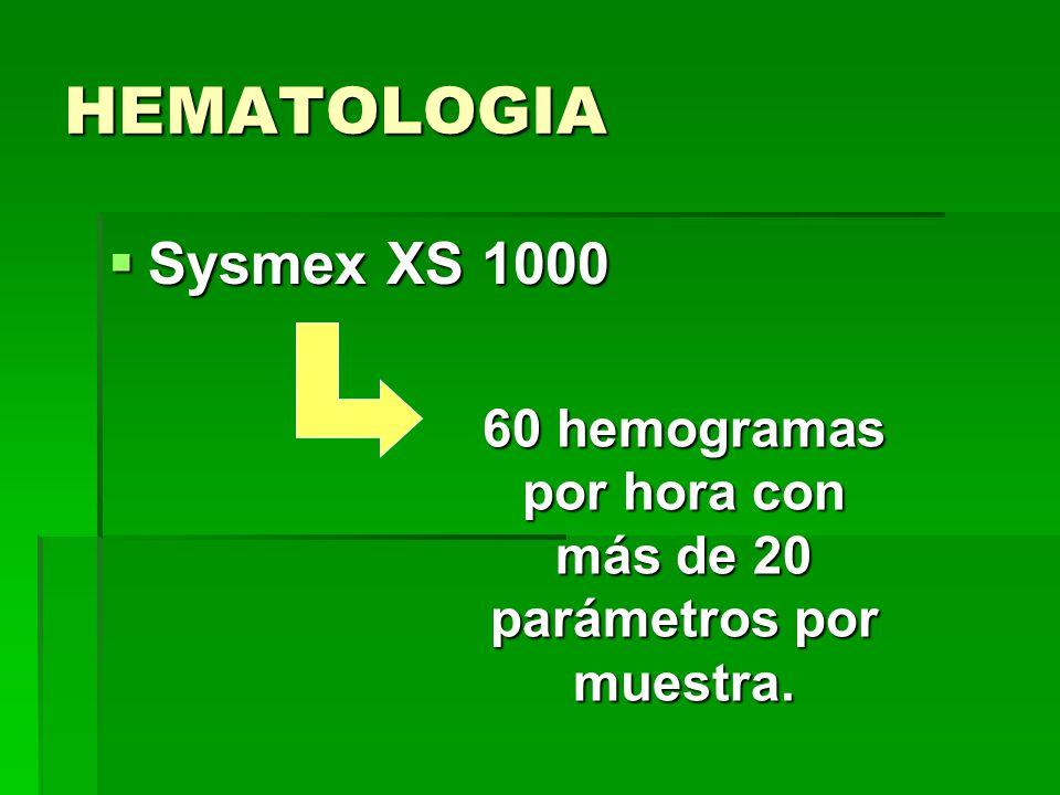 60 hemogramas por hora con más de 20 parámetros por muestra.