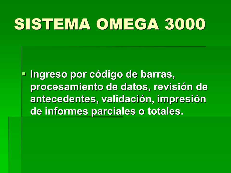 SISTEMA OMEGA 3000