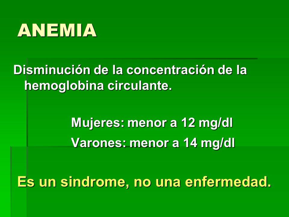 ANEMIA Varones: menor a 14 mg/dl Es un sindrome, no una enfermedad.