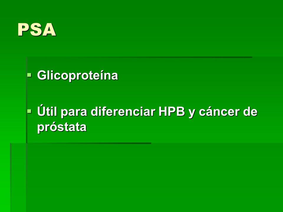 PSA Glicoproteína Útil para diferenciar HPB y cáncer de próstata