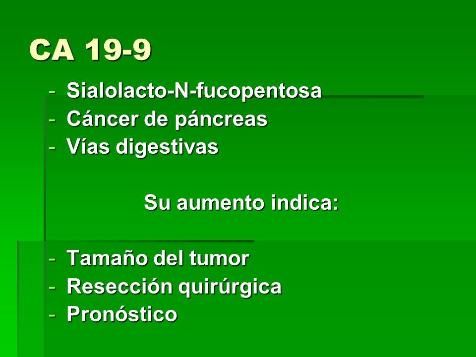 CA 19-9 Sialolacto-N-fucopentosa Cáncer de páncreas Vías digestivas
