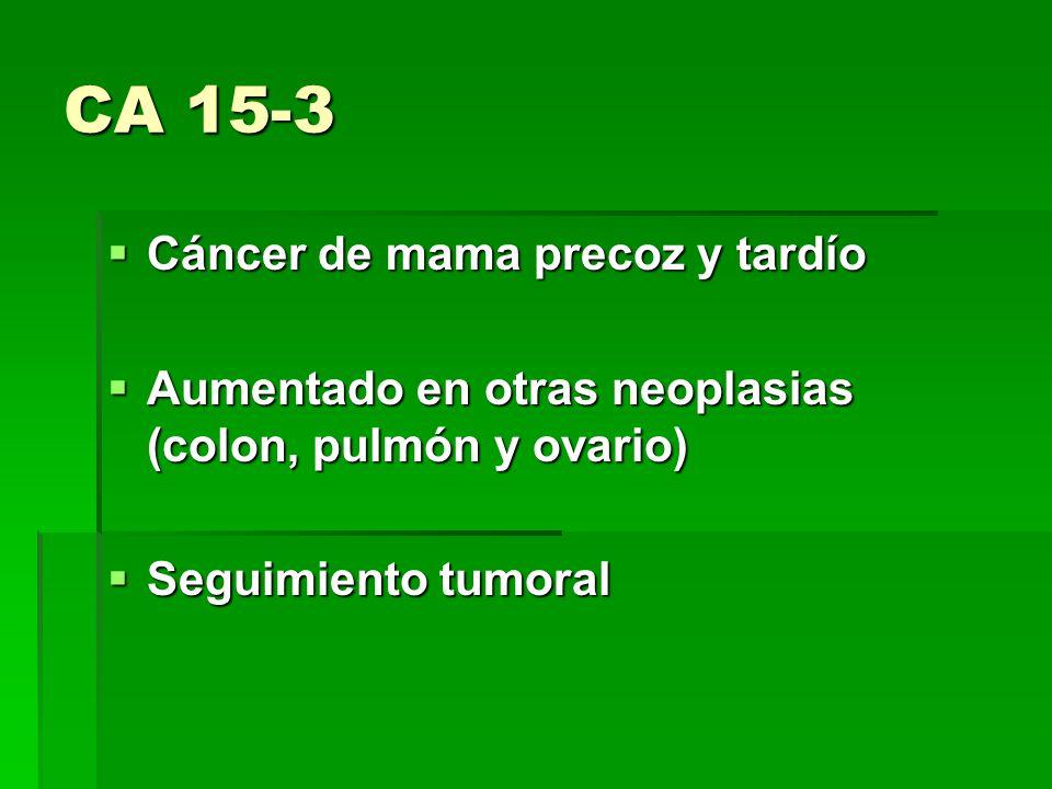 CA 15-3 Cáncer de mama precoz y tardío