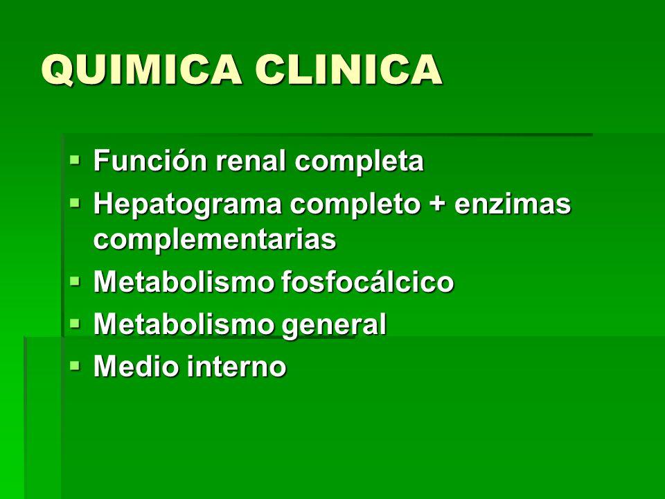 QUIMICA CLINICA Función renal completa