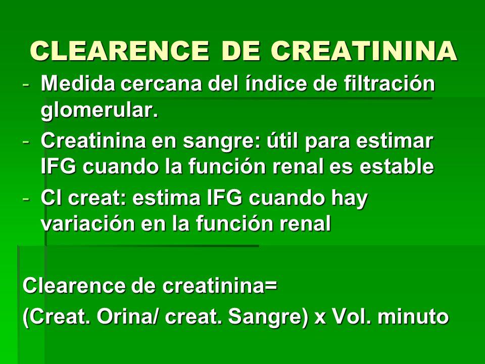 CLEARENCE DE CREATININA