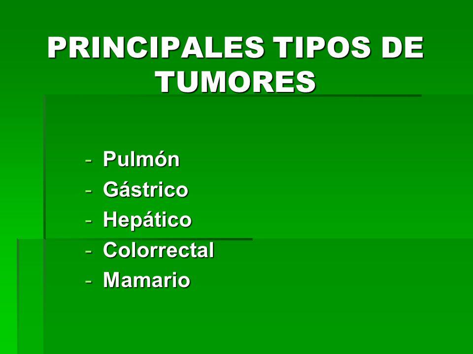 PRINCIPALES TIPOS DE TUMORES
