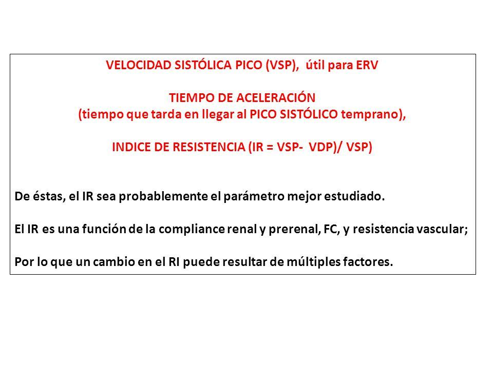 VELOCIDAD SISTÓLICA PICO (VSP), útil para ERV TIEMPO DE ACELERACIÓN