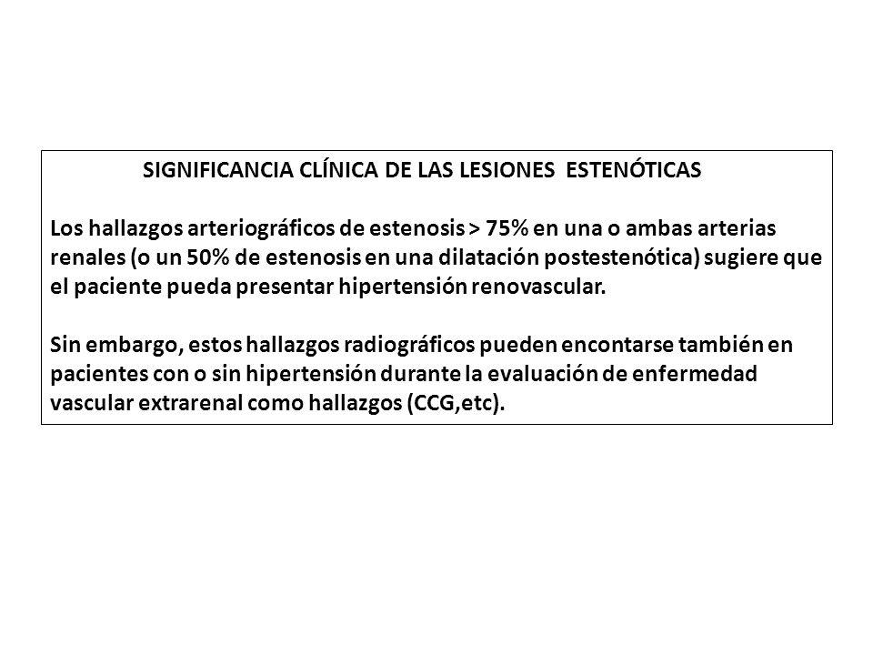 SIGNIFICANCIA CLÍNICA DE LAS LESIONES ESTENÓTICAS