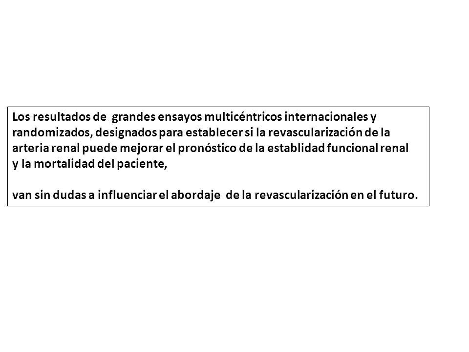 Los resultados de grandes ensayos multicéntricos internacionales y randomizados, designados para establecer si la revascularización de la arteria renal puede mejorar el pronóstico de la establidad funcional renal