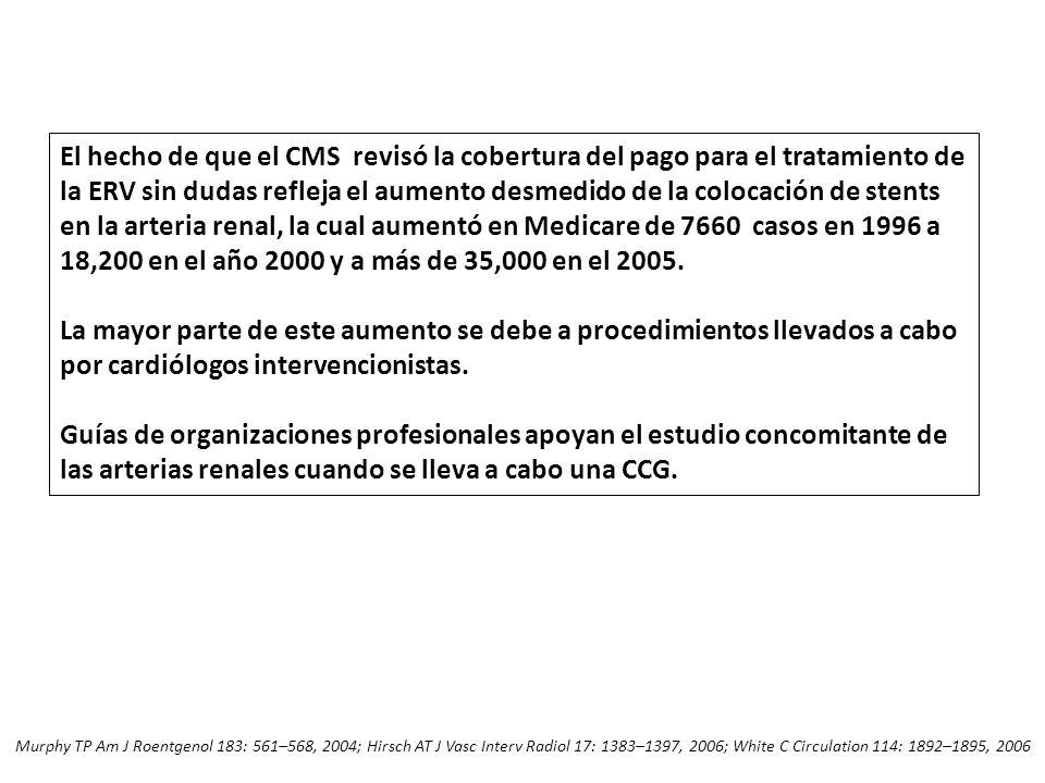El hecho de que el CMS revisó la cobertura del pago para el tratamiento de la ERV sin dudas refleja el aumento desmedido de la colocación de stents en la arteria renal, la cual aumentó en Medicare de 7660 casos en 1996 a 18,200 en el año 2000 y a más de 35,000 en el 2005.