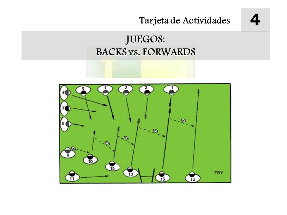 4 Tarjeta de Actividades JUEGOS: BACKS vs. FORWARDS