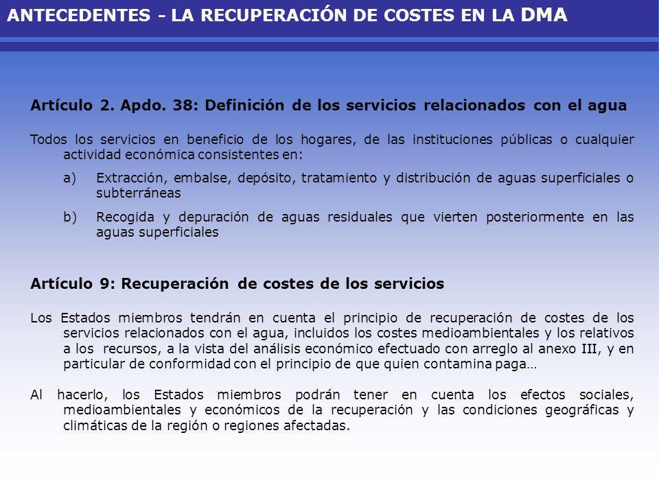 ANTECEDENTES - LA RECUPERACIÓN DE COSTES EN LA DMA