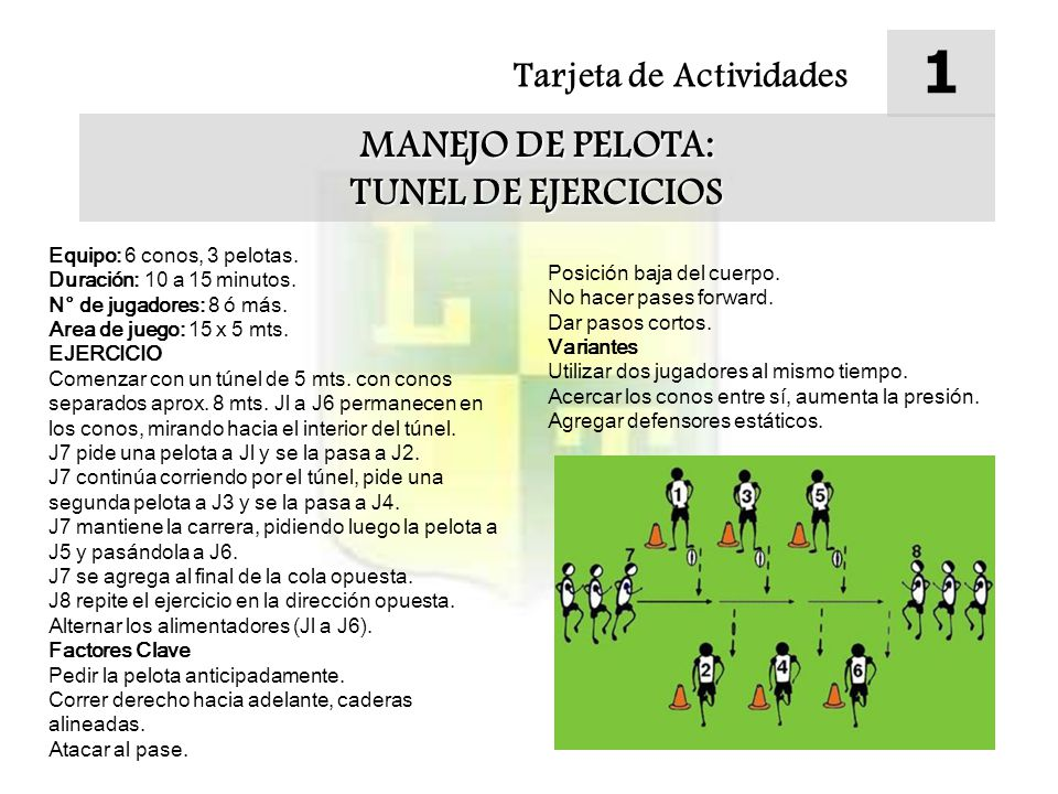 1 MANEJO DE PELOTA: TUNEL DE EJERCICIOS Tarjeta de Actividades
