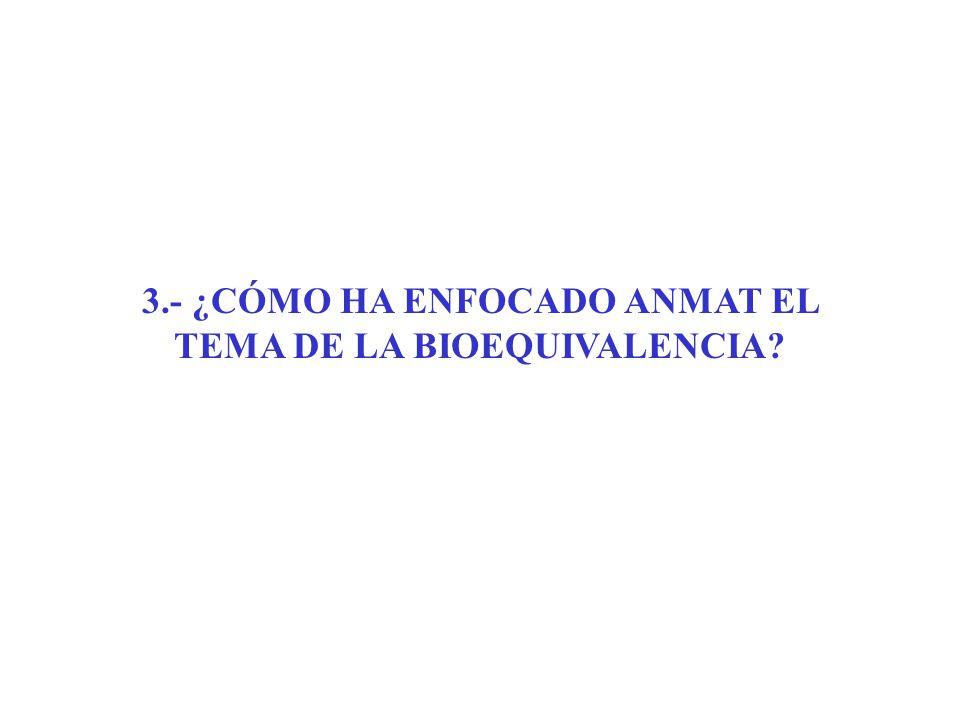 3.- ¿CÓMO HA ENFOCADO ANMAT EL TEMA DE LA BIOEQUIVALENCIA