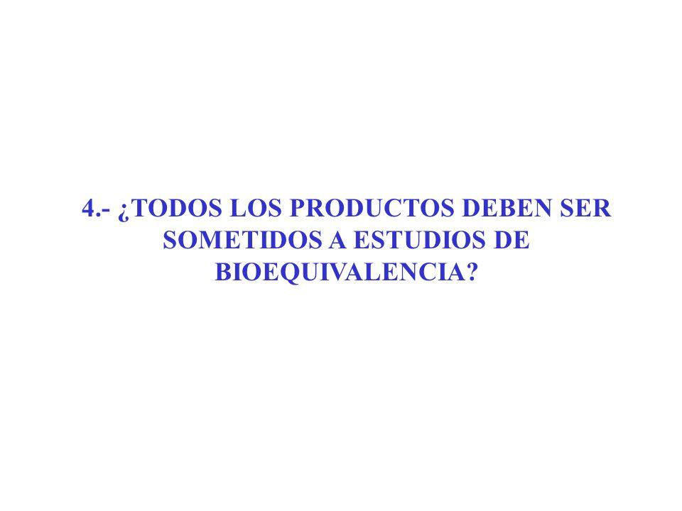 4.- ¿TODOS LOS PRODUCTOS DEBEN SER SOMETIDOS A ESTUDIOS DE BIOEQUIVALENCIA