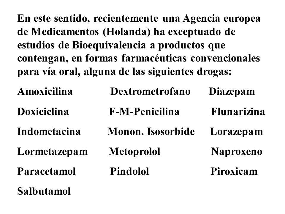 En este sentido, recientemente una Agencia europea de Medicamentos (Holanda) ha exceptuado de estudios de Bioequivalencia a productos que contengan, en formas farmacéuticas convencionales para vía oral, alguna de las siguientes drogas: