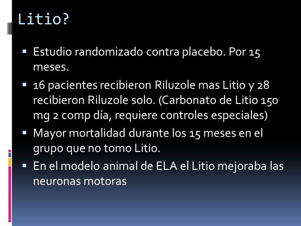 Litio Estudio randomizado contra placebo. Por 15 meses.