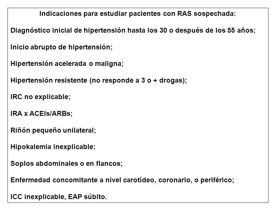 Indicaciones para estudiar pacientes con RAS sospechada: